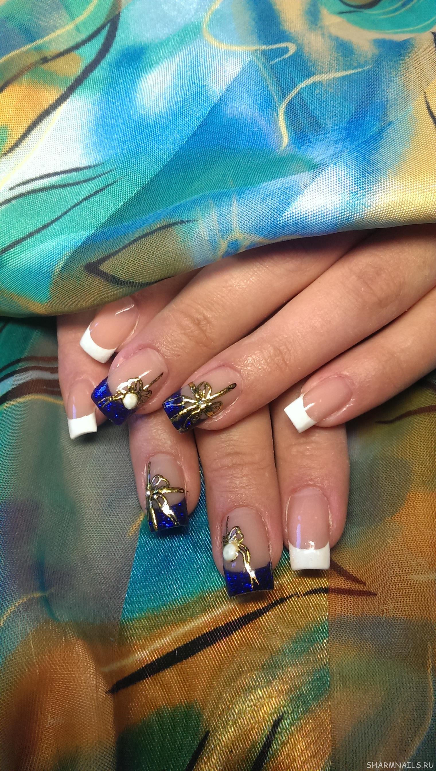 Жидкие камни на острых ногтях фото