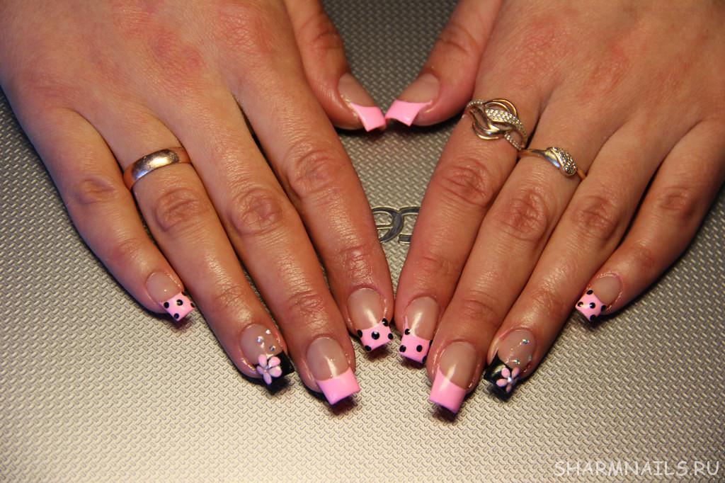 Дизайн ногтей френч с розовым